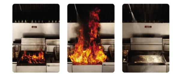 Sistema saponificante - Extinção de incêndio em cozinha